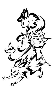 Tribal Flareon, Vaporeon & Jolteon *Eevee is by far one of my favorite pokemon Pokemon Umbreon, Pikachu, Eevee Evolutions, My Pokemon, Charmander, Tribal Drawings, Tribal Art, Art Drawings, Tribal Pokemon
