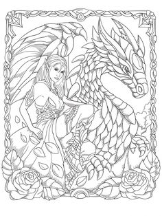 Dragon Coloring Page, Fairy Coloring Pages, Printable Adult Coloring Pages, Mandala Coloring Pages, Coloring Pages To Print, Coloring Sheets, Coloring Books, Dragons, Patterns