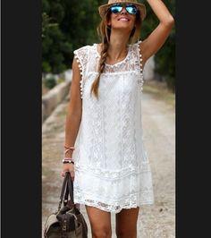 2015 Vestidos para mujer de verano Boho bordado floral atractiva bohemia casual encaje blanco con Crochet Vestidos de playa para Mini Fiesta en Vestidos de Moda y Complementos Mujer en AliExpress.com | Alibaba Group