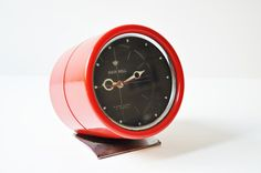 Vintage Space Age Hein Bell Red Alarm Clock  by thelittlebiker