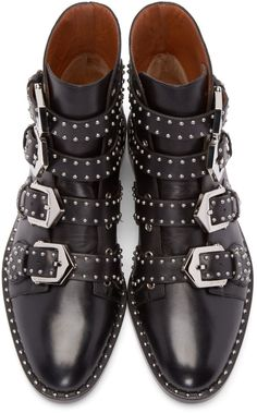 3386151fa2833 Givenchy - Black Leather Studded Buckle Boots Bottines Cloutées, Bottes  Femme, Talons, Chaussures