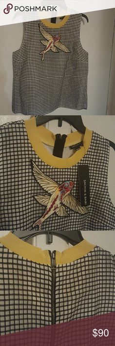 A blouse Sleeveless black and white w embroider bird design on it Sachin + Babi Tops Blouses