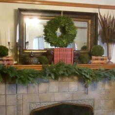 Christmas Mantel - wreath on mirror