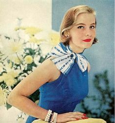 Blue dress    From Ladies Home Journal, December 1955