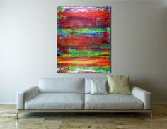 ARTFINDER: The dreaming II by Nestor Toro - Vibrant piece with bold color blending, Iridescent paint drips and big palette knife strokes. This painting conveys motion, energy as well as lots of light a...