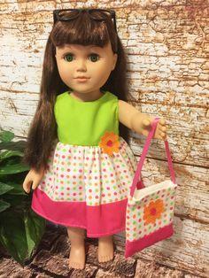 18 Doll Clothes Polka Dot doll dress purse by sassydollcreations