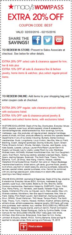 Pinned February 6th: Extra 20% off at #Macys or online via promo code BEST #coupon via The #Coupons App