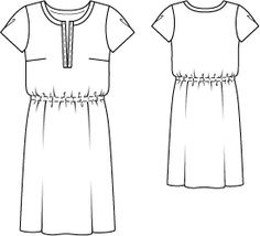 Kleid - Gummizug in der Taille - Schnittmuster
