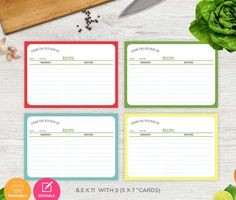 Recipe Cards, Recipe Cards Printable Instant Download, Printable Recipe Card 5 x 7 Instant Download PDF by cardsbybubi on Etsy