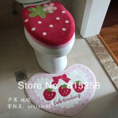 Freeshipping Toilet seat cover Special Powder Strawberry Bars Carpet Mantle Pad Four piece sets Toilet sets bathroom Mat Strawberry Bars, Strawberry Kitchen, Strawberry Patch, Strawberry Shortcake, Aesthetic Room Decor, Red Aesthetic, Room Inspiration, Design Inspiration, Kawaii Room