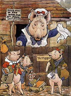 'She turned them out of the home-sty to find their own living', illustration from 'The Three Little Pigs' by Frank Adams