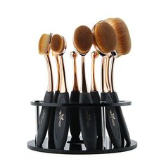 New Inventory! - 10 Piece oval makeup brush set - Comes with FREE brush stand - Cruelty free synthetic fibers - Brushes have a curved tip to hug the curves on your face - Perfect for achieving gorgeou