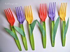 Kid-Made Día de la Madre del ramo de plástico Fork tulipanes Craft