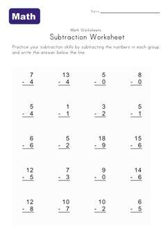 simple subtraction worksheet one