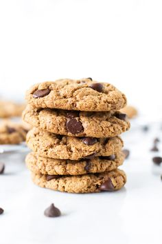 Gluten-free chocolate chip cookies!! They are fantastic even without having any flour in them! They are as good as a traditional cookie: soft, chewy, flavorful, but are gluten-free! - Primavera Kitchen