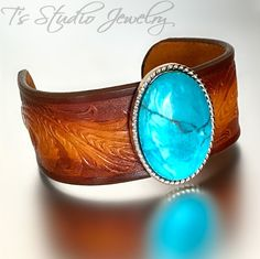 Tooled Leather Cuff Bracelet Wristband with Turquoise Concho
