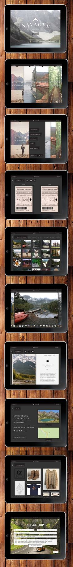 N A V A G E R travel app | Designer: Alex Milbourn - on App Design Served #ipadapp #journal