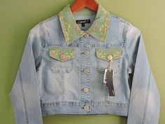 Fashionable Denim Lace Stretch Jacket Sz Medium NWT #OriginalJeanBrand #Jacket