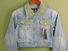 Fashionable Denim Lace Stretch Jacket Sz Large NWT #OriginalJeanBrand #Jacket
