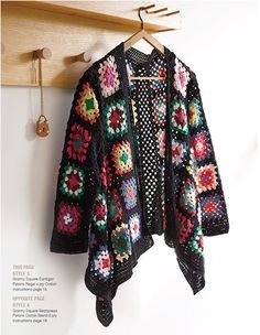 Modern Crochet by Patons, granny square jacket: Crochet Coat, Crochet Jacket, Crochet Books, Crochet Cardigan, Crochet Shawl, Grannies Crochet, Moda Crochet, Crochet Squares, Granny Squares
