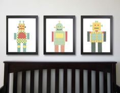 idea to make robot art w/ patterned scrapbook paper then frame