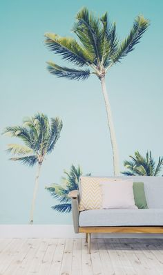 California Dreamin'. This palm tree wallpaper mural carries you away to the Golden State and transforms your interiors.