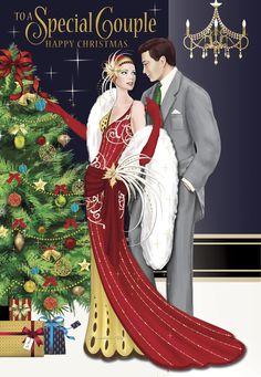 Old Christmas, Christmas Fashion, Vintage Christmas Cards, Christmas Deco, Christmas Pictures, Xmas Cards, Christmas Couple, Debbie Moore, Arte Punk