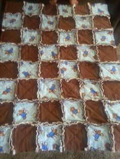 Bears  and Brown Flannel Baby boy rag quilt 35x45 Diane Darvis
