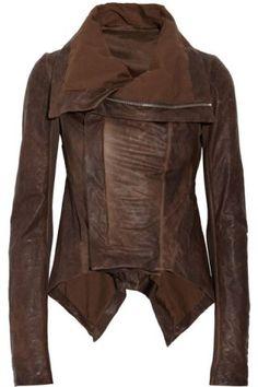 Stylish Turn-Down Collar Long Sleeve Asymmetrical Faux Leather Women's Jacket