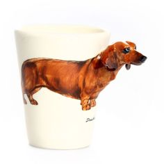 {Pup on a Cup Dachshund Mug} Blue Witch Ceramics - OMG, this is too much cute!