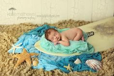 Surf board beach theme newborn