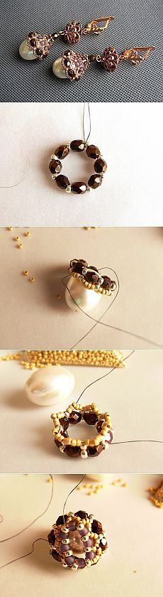 "Earrings ""Droplets"", bead earrings scheme, 