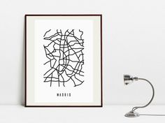 Madrid Abstract Map - Original Black and White Art Print by Postery on Etsy