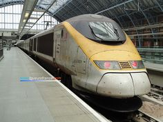 The Eurostar 3001 trainset waiting in St Pancras International Station after a service between Brussels and London. The maintenance of this trainset is made at Temple Mills which (The Eurostar Engineering Centre) is the depot for Eurostar trains.      Web page: http://tgveurofrance.com.pagesperso-orange.fr/materiel-roulant/eurostar/indexen.htm