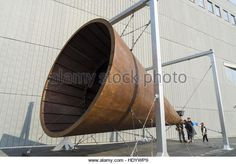 Shanghai, Shanghai, China. 15th Dec, 2016. Shanghai, CHINA-December 15 2016: (EDITORIAL USE ONLY. CHINA OUT).A giant horn weighing 7 ton shows at Power Station of Art in Shanghai, December 15th, 2016. The giant horn is an interactive installation made by artist Zheng Bo for the 11th Shanghai Biennale. © SIPA Asia/ZUMA Wire/Alamy Live News - Stock Image