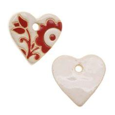 Golem Design Studio Ceramic Pendant, Glazed Heart Shape With Flowers, 1 Piece, Red
