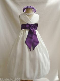Ivory & Purple Toddler Flower Girl Dress