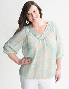 5df3ce4135767 Plus Size Floral Bubble Hem Blouse by Lane Bryant