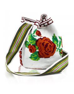 Mochila Wayuu Rosas Rojas - Fundación Juan Pablo Socarrás - BOUTIQUE