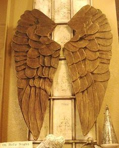 Angel Wings Tutorial. Pottery Barn Knock-off.  They are a gorgeous work of art! Love this idea. (cardboard & paper mache). Keep this for the Holidays or just make it for a beautiful piece for your home. I'd just make it and use it all year long.