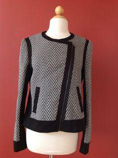 ANN TAYLOR Black Wool Blend Tweed Moto Jacket Size 10 #AnnTaylor #BasicJacket