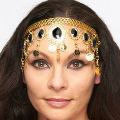 Arabesque Metal Headpiece with Coins & Jewels - GOLD / BLACK  http://www.bellydance.com/Arabesque-Metal-Headpiece-with-Coins-Jewels--GOLD-BLACK_p_3980.html