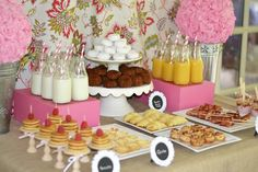 Cute display for a sleepover party breakfast, or just a brunch party.