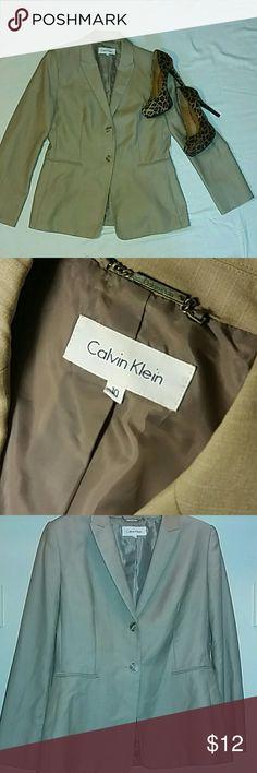 Calvin Klein Tan / White Pin Stripes Blazer Calvin Klein Tan / White Pin Stripes Blazer Calvin Klein Jackets & Coats Blazers