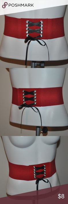 Lace Up Waist Belt size small - stretchy red fabric, red faux leather, silver grommets and black ribbon Accessories Belts