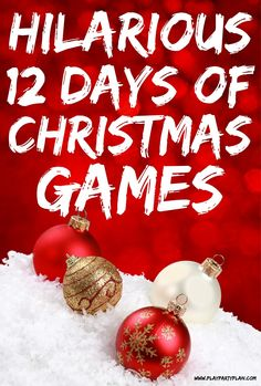 Hilarious 12 Days of Christmas Games for All Ages Hilarious 12 days of Christmas inspired Christmas games! The most fun games whether you want something for adults, for kids, or for groups of mi Christmas Party Games For Groups, Christmas Gift Exchange Games, Adult Christmas Party, Party Games Group, Xmas Games, Holiday Party Games, Kids Party Games, Fun Games, Office Gift Exchange Ideas