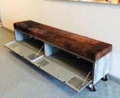 Vintage Steel Locker Storage Bench w/ Cowhide Seat $1285