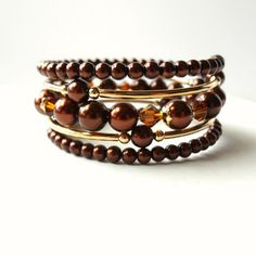 Brown Bracelet Chocolate Brown Pearls Gold by ReneeBrownsDesigns~<3