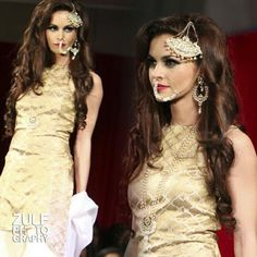 Nose ring and jhoomer beauty look by make-up artist Ambreen at the Asiana Bridal Show 2014 in London