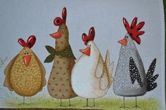 Projeto Gathering her friends Ateli Atade Depizzol Projekt Treffen ihrer Freunde Ateli Atade Depizzol Image by Tiere Malen Ideen Chicken Crafts, Chicken Art, Primitive Painting, Tole Painting, Painting Patterns, Quilt Patterns, Arte Do Galo, Chicken Quilt, Cartoon Chicken